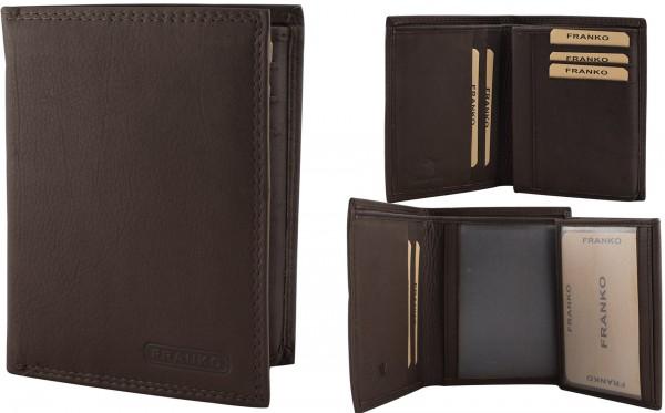 Herren Portemonnaie Geldbörse Leder Franko 625 Dunkelbraun Hochformat Geldbeutel Brieftasche