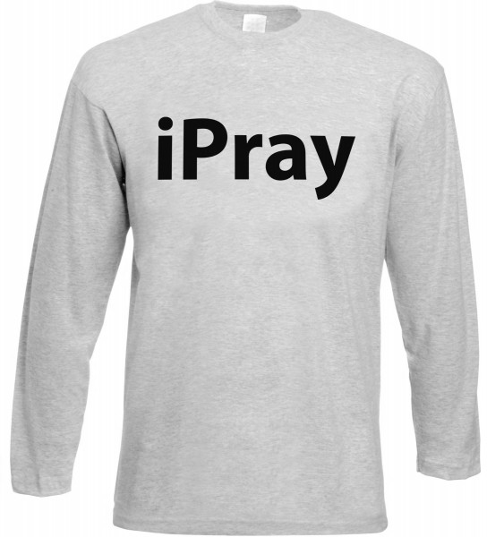 iPray Langarm T-Shirt - Muslim Halal Wear Grey