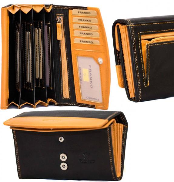 Damen Geldbörse Geldrasche Voll Leder 17x9,5x3,5 cm XXL Frauen Portemonnaie Orange