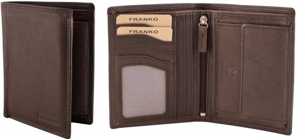 Herren Portemonnaie Geldbörse Leder Franko 1902 Dunkelbraun Hochformat Geldbeutel Brieftasche