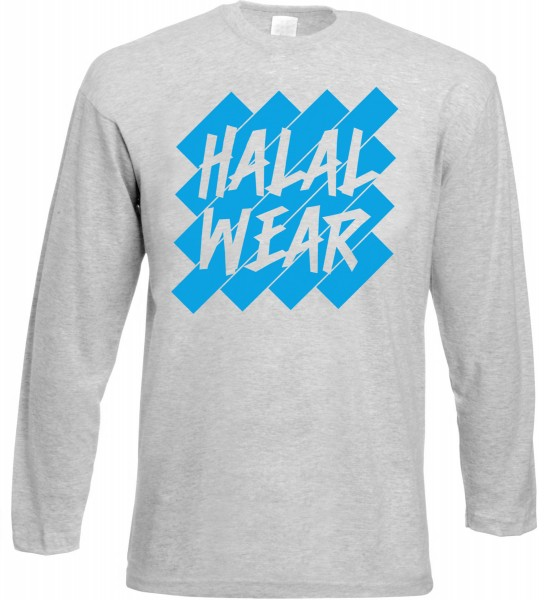 Halal Wear Langarm T-Shirt Blue - Muslim Halal Wear Grey