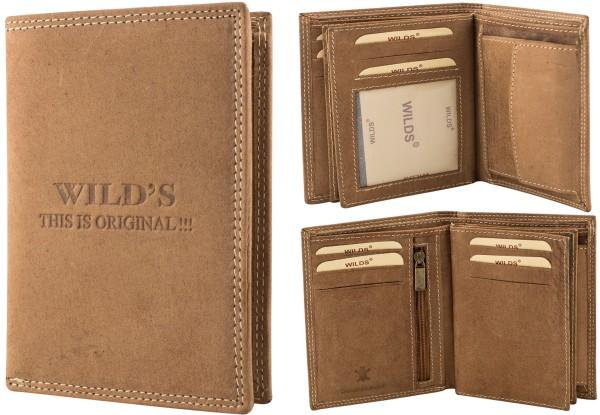 Herren Portemonnaie Geldbörse Leder Wild OP35P Hellbraun Hochformat Geldbeutel Brieftasche