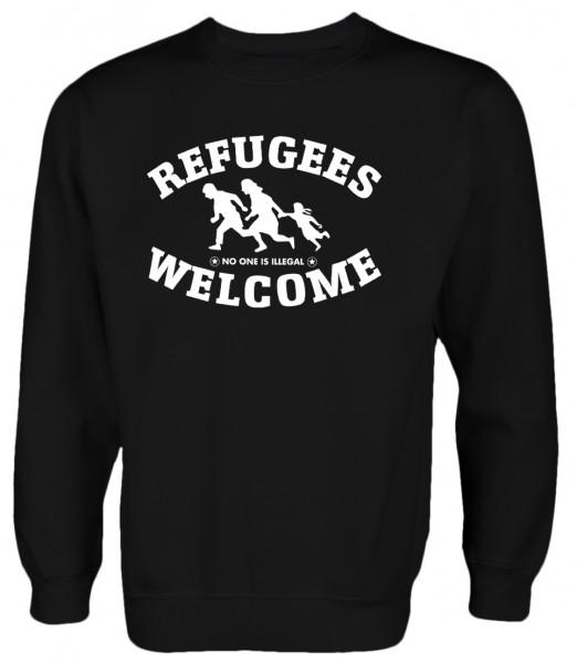 Refugees welcome Pullover Schwarz mit weißer Aufschrift - No one is illegal