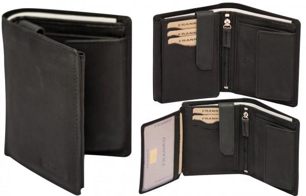 Herren Geldbörse Leder Franko 1577 Schwarz Hochformat Geldbeutel Portemonnaie Brieftasche