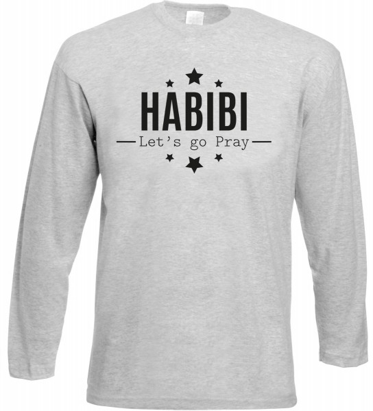 HABIBI Lets go pray Langarm T-Shirt - Muslim Halal Wear Grey