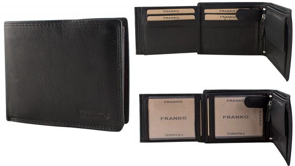 Herren Portemonnaie Geldbörse Leder Franko 172 Schwarz Querformat Geldbeutel Brieftasche