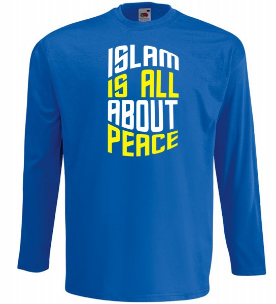 Islam is all about PEACE Langarm T-Shirt - Muslim Halal Wear Blau