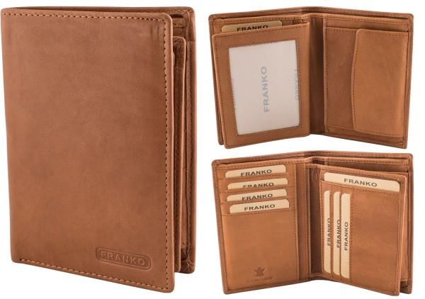Herren Geldbörse Leder Franko 236 Hochformat Hellbraun Geldbeutel Portemonnaie Brieftasche