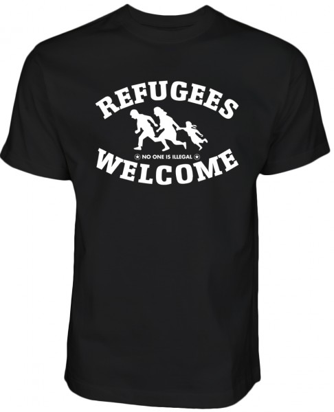 Refugees welcome T- Shirt Schwarz mit weißem Motiv - Nobody is illegal