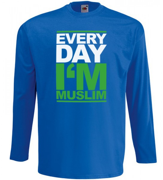 Every Day I Am Muslim Langarm T-Shirt Halal Wear Blau