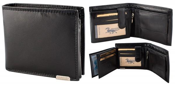 Herren Portemonnaie Geldbörse Leder Dragon G1000 Schwarz Querformat Geldbeutel Brieftasche