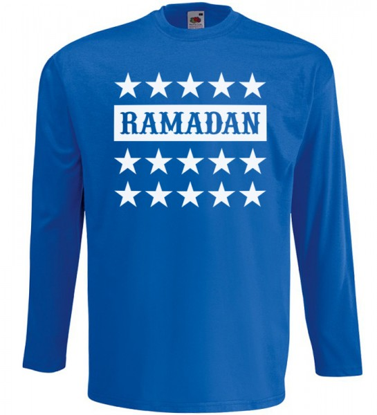 Ramadan Stars Langarm T-Shirt Halal Wear Blau