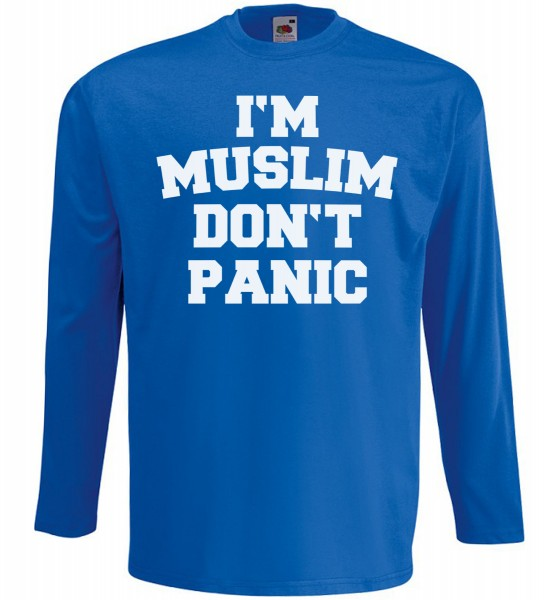 I am Muslim Dont Panic Langarm T-Shirt - Muslim Halal Wear Blau