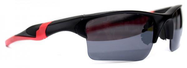 Sportliche Herren Sonnenbrille roter Rahmen schwarze Linse UV400 #LS6614