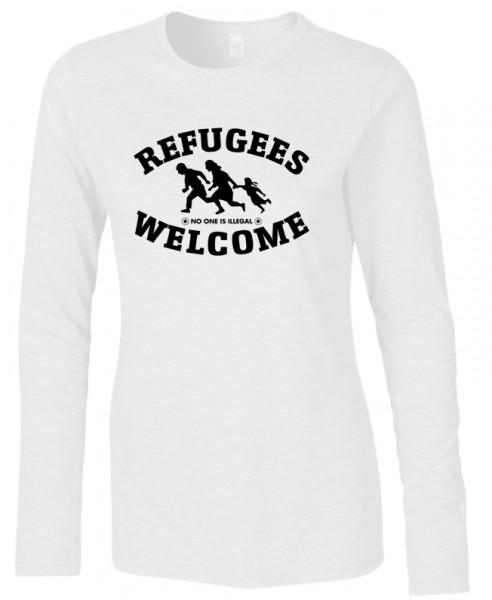 Refugees welcome Woman Shirt Weiß mit schwarzer Aufschrift - No one is illegal