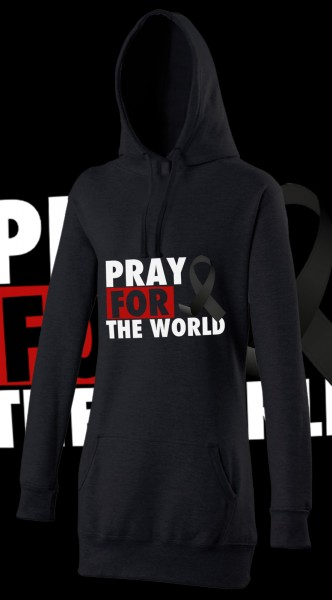 Pray for the World Woman Damen Hoody Hoodie Black Schwarz