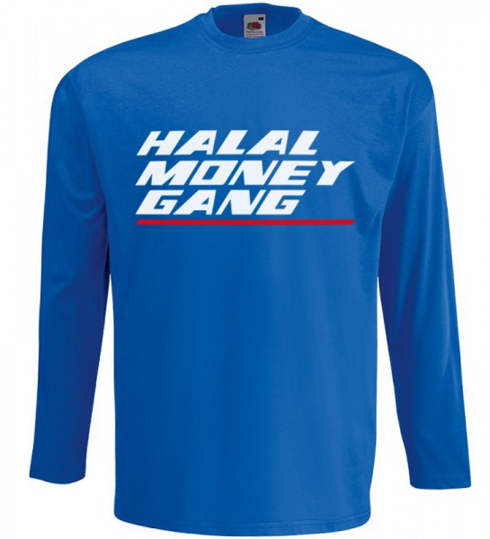 Halal Money Gang Langarm T-Shirt Halal Wear Blau