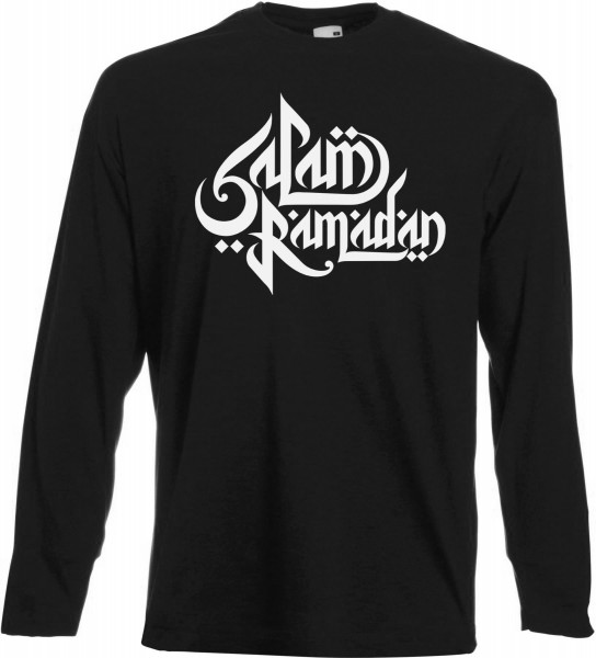 Salam Ramadan arabische Kalligraphie Langarm T-Shirt - Muslim Halal Wear Black