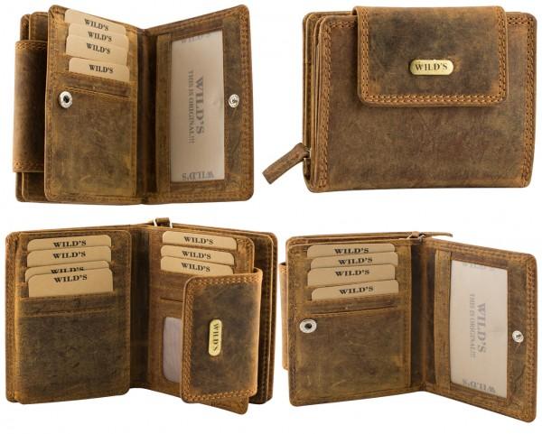 Herren Portemonnaie Geldbörse Leder Wild 1467 Dunkelbraun Hochformat Geldbeutel Brieftasche