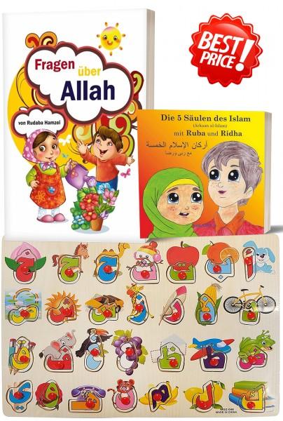 Kinder Bundle Alif-Ba Puzzle + Fragen über Allah + 5 Säulen des Islam