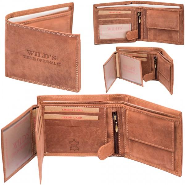 Herren Portemonnaie Geldbörse Leder Wild W02 Dunkelbraun Querformat Geldbeutel Brieftasche