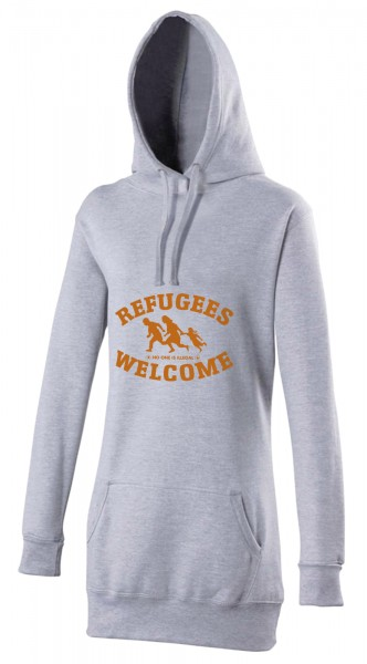 Refugees welcome Woman Hoody Grau mit orangener Aufschrift - No one is illegal