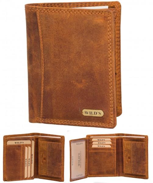 Herren Leder Geldbörse 1558 Hellbraun Hochformat Geldbeutel Portemonnaie Brieftasche Portmonee