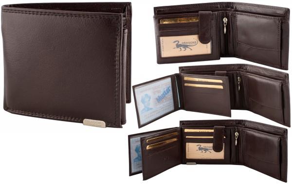 Herren Portemonnaie Geldbörse Leder Dragon G1000 Dunkelbraun Querformat Geldbeutel Brieftasche
