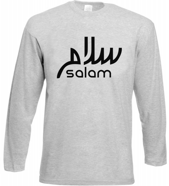Salam arabische Kalligraphie Langarm T-Shirt - Muslim Halal Wear Grey