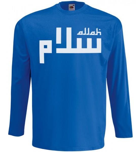 Allah Lines Langarm T-Shirt Halal Wear Blau