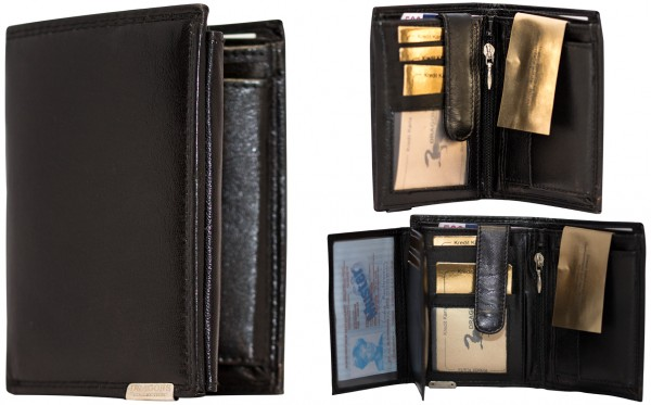 Herren Portemonnaie Geldbörse Leder Dragon G1001 Schwarz Hochformat Geldbeutel Brieftasche