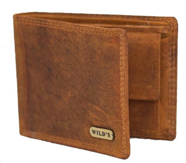 Herren Leder Geldbörse 1557 Hellbraun Geldbeutel Portemonnaie Brieftasche Portmonee