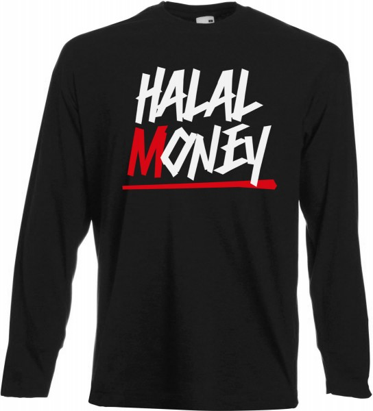 Halal Money Langarm T-Shirt - Muslim Halal Wear Black