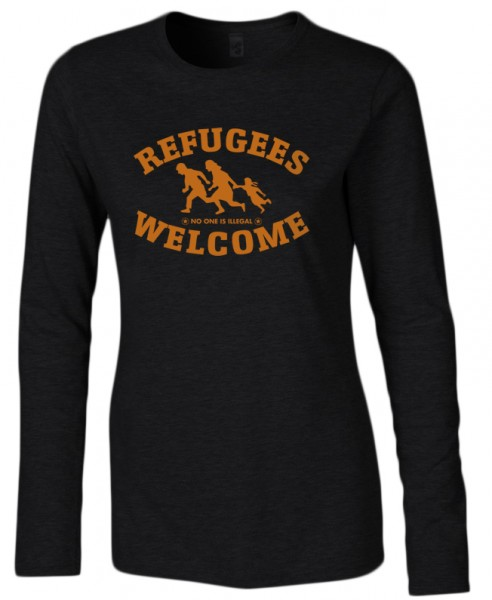 Refugees welcome Damen Shirt Schwarz mit orangener Aufschrift - No one is illegal