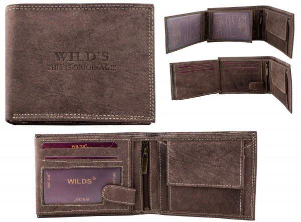 Herren Leder Geldbörse W02 Dunkelbraun Querformat Geldbeutel Portemonnaie Brieftasche