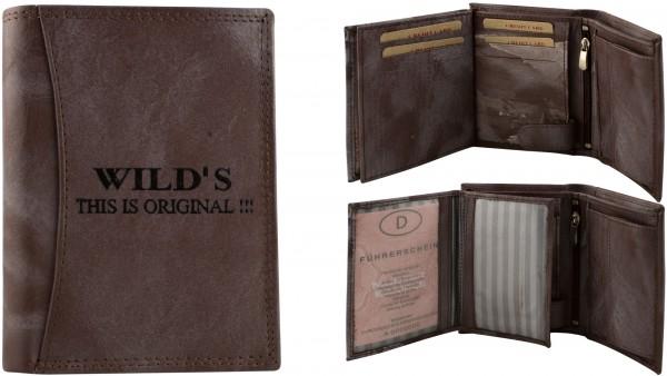 Herren Portemonnaie Geldbörse Leder Wild TR35P Hochformat Geldbeutel Brieftasche