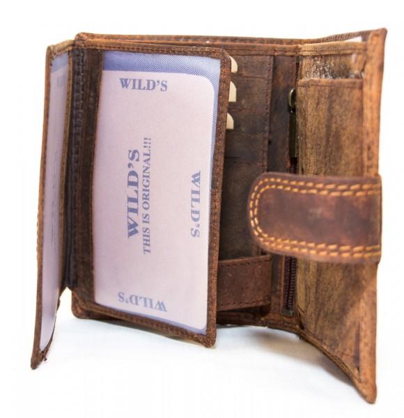 Herren Geldbörse Wild W01L Dunkelbraun Leder Geldbeutel Portemonnaie Brieftasche Portmonee