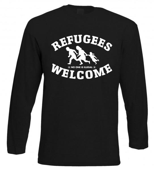 Refugees welcome Langarm Shirt Schwarz mit weißer Aufschrift - No one is illegal
