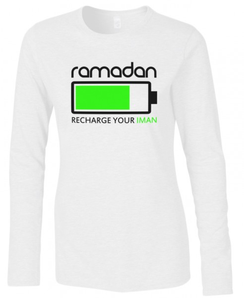 Ramadan recharge your Iman Halal-Wear women Langarm T-Shirt