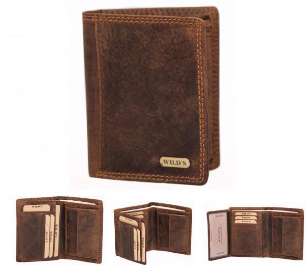 Herren Leder Geldbörse 1558 Dunkelbraun Hochformat Geldbeutel Portemonnaie Brieftasche Portmonee