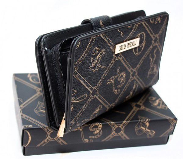 Giulia Pieralli Damen Geldbörse 0616 Nero Schwarz Frauen Portemonnaie Geldtasche