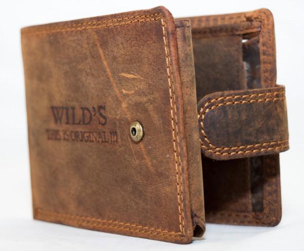 Herren Geldbörse Wild W02L Dunkelbraun Leder Geldbeutel Portemonnaie Brieftasche Portmonee