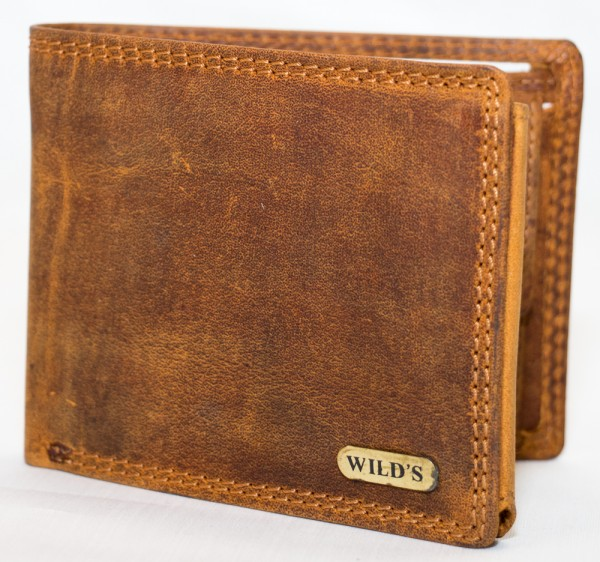 Herren Geldbörse Wild 1598 Hellbraun Leder Geldbeutel Portemonnaie Brieftasche Portmonee