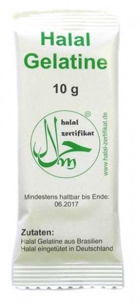 Halal Gelatine Helal Gelatine 10g Tüten verpackt
