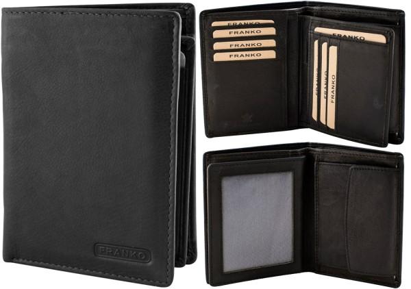 Herren Geldbörse Leder Franko 236 Hochformat Schwarz Geldbeutel Portemonnaie Brieftasche