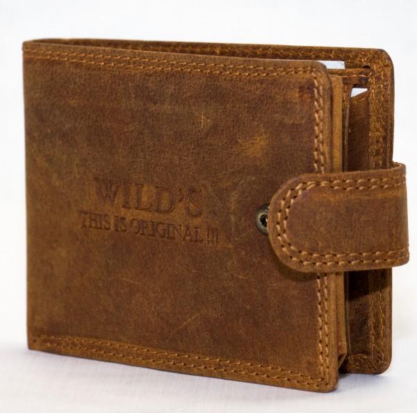 Herren Geldbörse Wild W02L Hellbraun Leder Geldbeutel Portemonnaie Brieftasche Portmonee