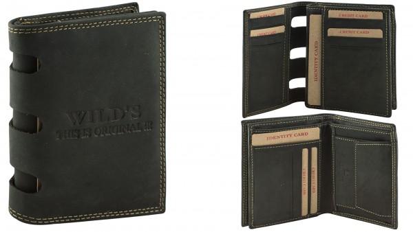 Herren Portemonnaie Geldbörse Leder Wild DB16 Hochformat Schwarz Geldbeutel Brieftasche