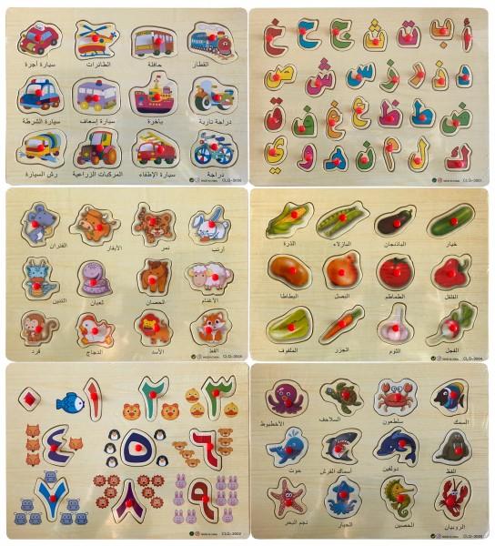 Arabische Wörter lernen mit Holz Steckpuzzle für Kinder Lernspielzeug Alif ba ta SET