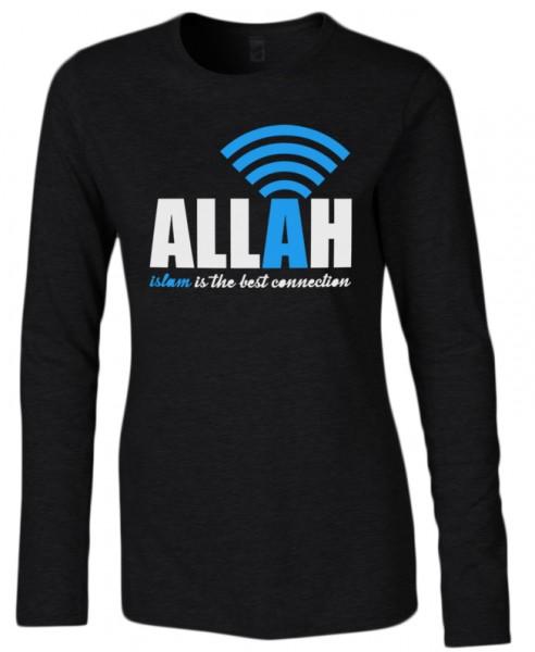 Allah - Islam is the best connenction Halal-Wear Women Langarm Shirt