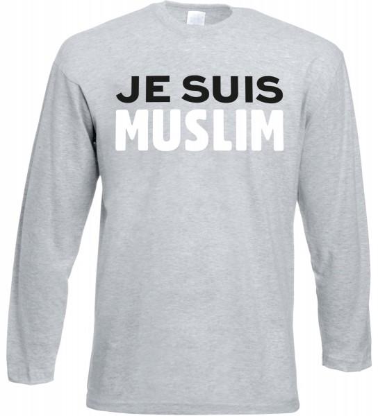 Je Suis Muslim Langarm T-Shirt - Muslim Halal Wear Grey
